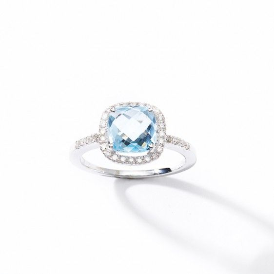 Bague or blanc, topaze bleue et diamants 12448