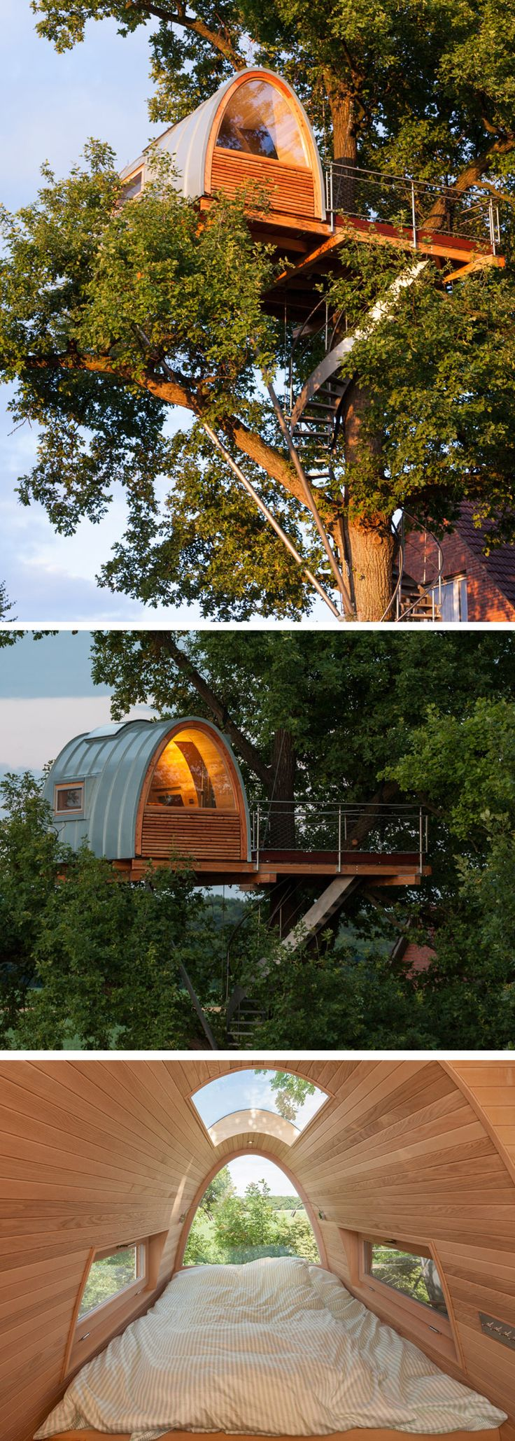A modern treehouse in Germany is situated 11 meters off the ground and offers a cosy retreat to sleep and relax in when the homeowners want to get away. Made by http://www.baumraum.de                                                                                                                                                     Mehr
