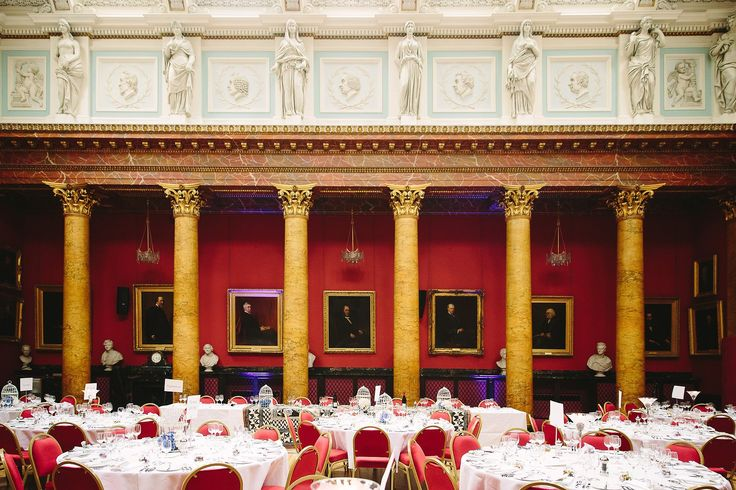 dining room set up at a wedding at Royal College of Physicians Edinburgh by Struve Photography