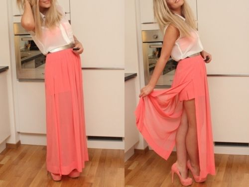 coral: Shoes, Dreams Closet, Style, Color, Outfit, Dresses, Long Skirts, Heels, Coral Maxi Skirts