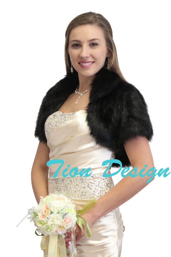 Bridal Faux fur bolero, Black Faux Fur Bolero Crop Jacket, Fur Shrug, Fur Coat, Fur Stole