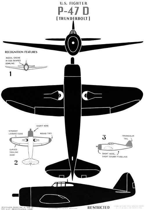 """U.S. fighter P-470 """"Thunderbolt"""". Historic poster showing major identifying features of the WWII P-470 fighter aircraft. Originally published by the U.S. Government Printing Office, 1943. Views of the"""