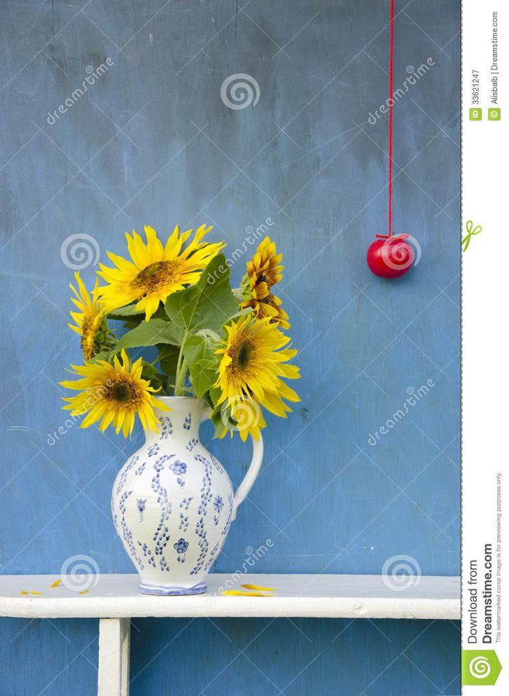 Summer Sunflowers Beautiful Bouquet In Elegant Pitcher With Red Apple - Download From Over 58 Million High Quality Stock Photos, Images, Vectors. Sign up for FREE today. Image: 33621247