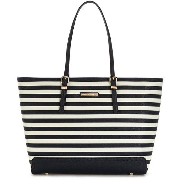 Tommy Hilfiger Stripe Tote Bag (£150) ❤ liked on Polyvore featuring bags, handbags, tote bags, tommy hilfiger tote bag, handbags totes, metallic tote, white purse and white tote