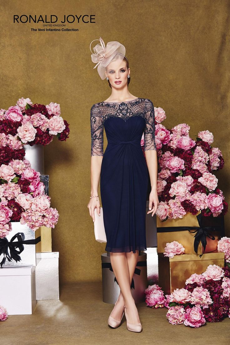 2015 Mother's Wedding Dresses Ronald Joyce Sheer Neck Beading Navy Blue Chiffon A-Line The Mother of the Bride Gowns for Party Half Seeves from Nicedressonline,$178.02 | DHgate.com