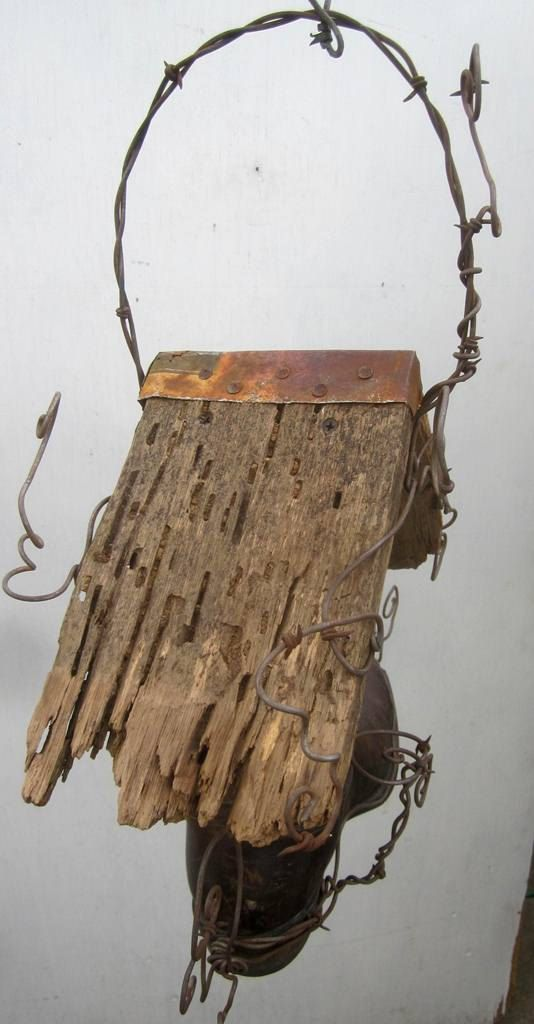 Montana Cowboy Boot Birdhouse With Barbed Wire by thedustyraven