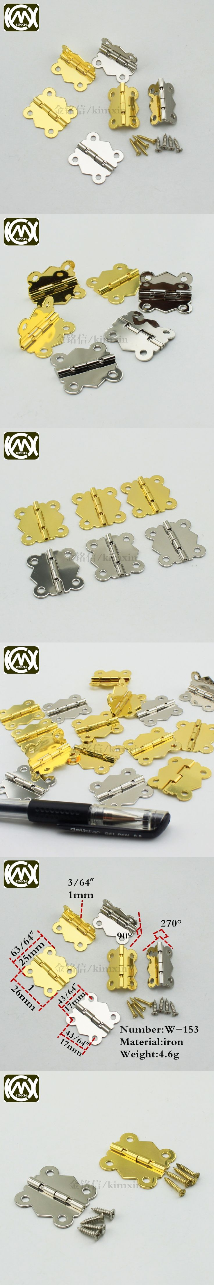 25*26mm 50pc In stock 4 hole small box hinge Jewelry box hardware 90degrees plum furniture accessories metal hinges kimxin w-153
