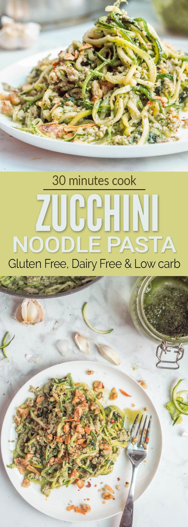 Whole30 pesto and chicken pasta made with paleo, gluten-free, dairy-free and low carb zucchini noodles. Perfect healthy weeknight dinner. Ready in 30 minutes.