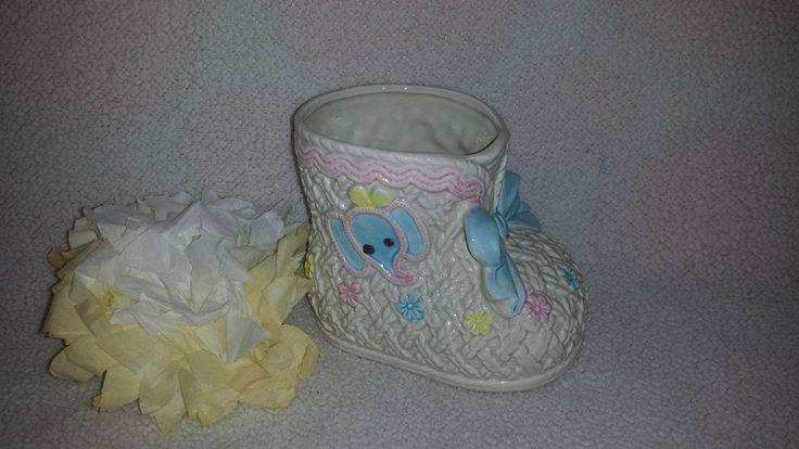 Vintage Baby Bootie Planter, Nancy Pew Ceramic Planter, Kitsch Planter, Baby Nursery Decor, Baby Shoe Planter, Japan, 8142 by JunkYardBlonde on Etsy