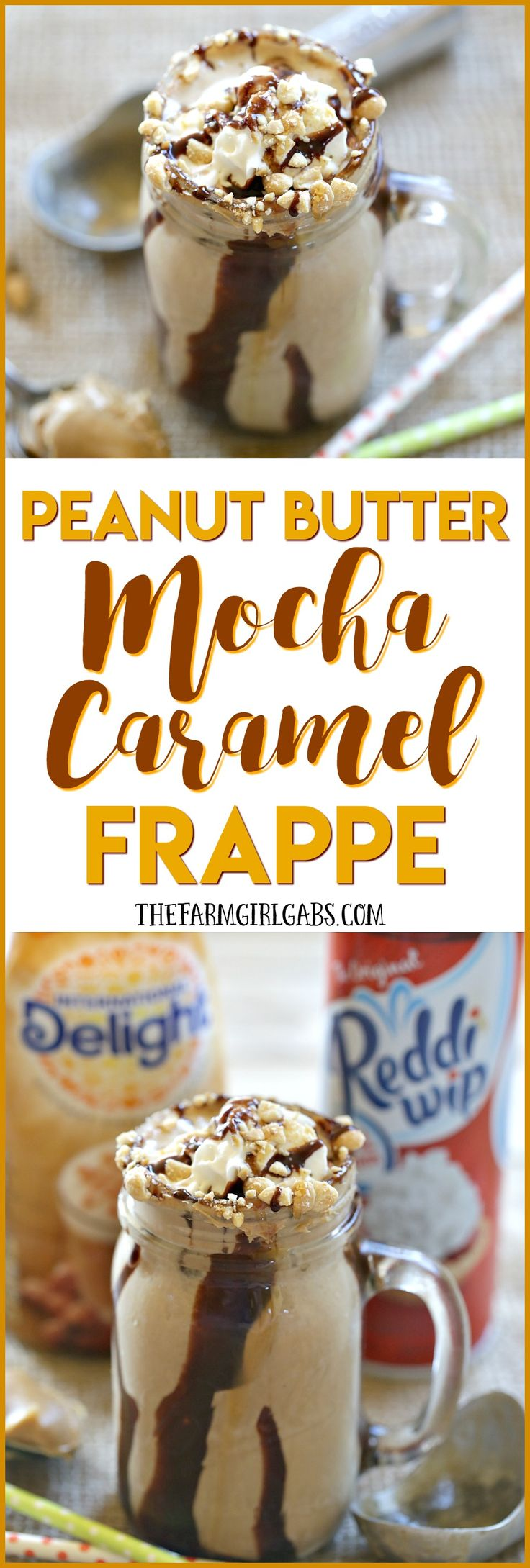 Ready for a cool and refreshing drink to celebrate summer? Try this delicious Peanut Butter Mocha Caramel Frappe! #FrappeYourWay #Ad @indelight @realreddiwip