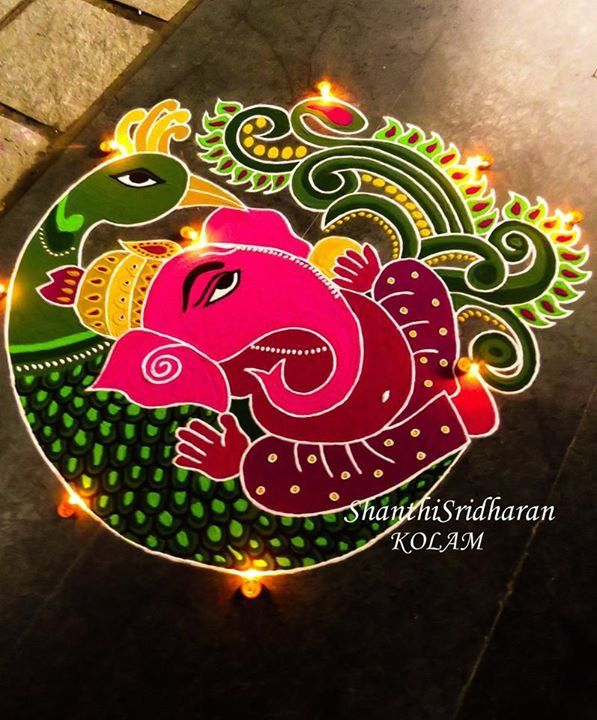 #green#pink#yellow#ganesha#pillaiyar#peacock#kolam
