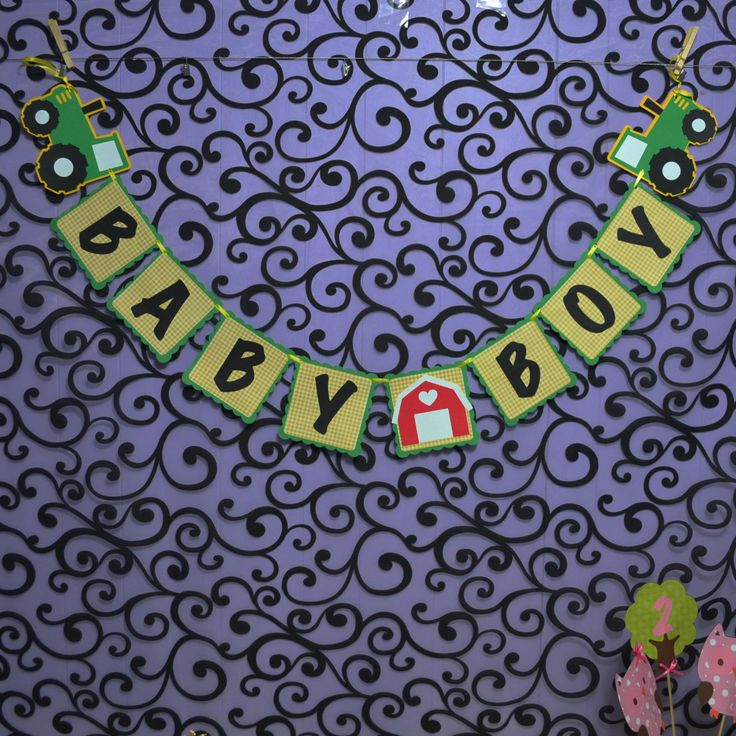 Thank you for coming to my shop for your party needs. Package Details 1 John Deere Inspired Banner Baby boy or ( or It's a Boy) I have these other coordinating theme items available to purchase in my                                                                                                                                                      More