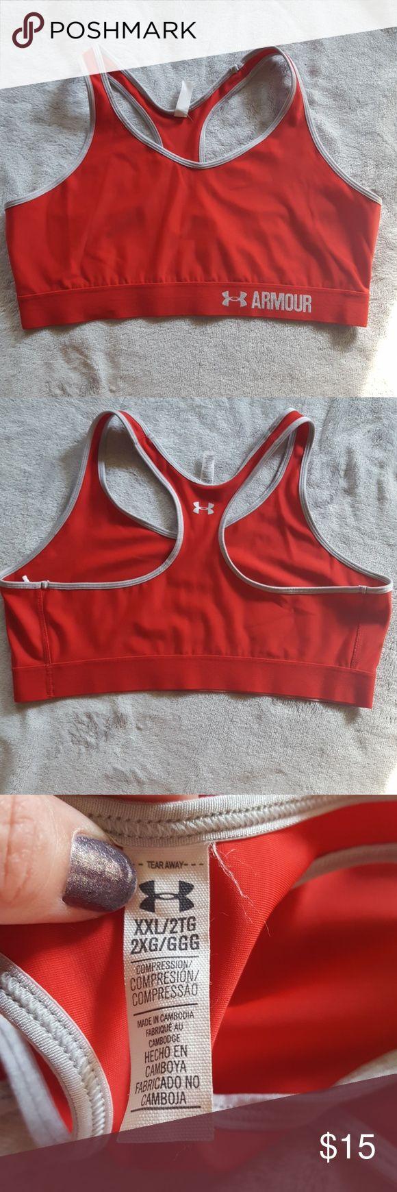 Women's Under Armour sports bra Super cute red and silver sports bra from Under Armour.  No padding in this bra. Excellent condition. Under Armour Intimates & Sleepwear Bras