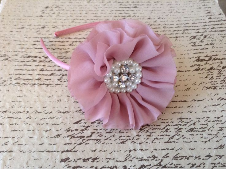 Mauve pink fabric flower hard headband by DonnaBellaBows on Etsy