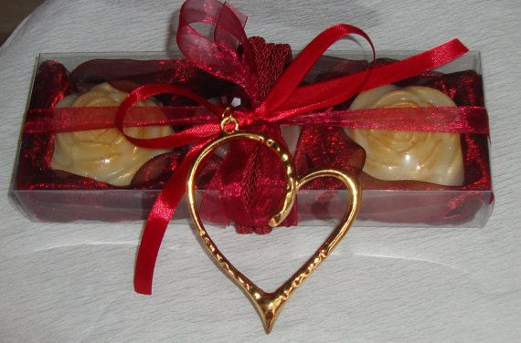 This year you can pick up a unique Valentine's gift idea for her. Our Red Burgundy Handmade Gift Set for Women, a spectacular gift box, with three cream Colour Luxury Scented Soaps and a lovely Gold & Red Handmade Heart Jewelry Necklace in the packaging.