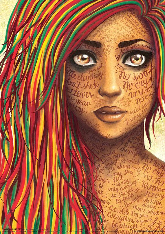 No Woman No Cry Bob Marley Reggae Lyrics Poster by DrawMeASong