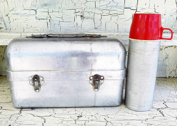 Priscilla Ware Lunch Box and Thermos Vacuum Bottle, Industrial Lunch Box with Thermos, Both Included by ShellyisVintage on Etsy