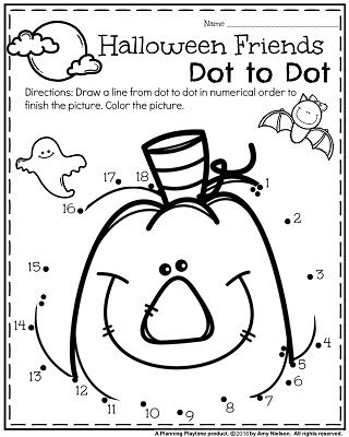 FREE Preschool Halloween worksheet for October - Halloween Friends dot to dot.
