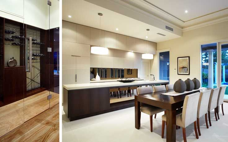 Kitchen with bulkhead and dining and door to outside - similar floorplan to ours -
