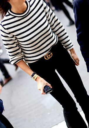 Breton stripes and Gucci belt  (HST:  can we replicate exactly???)