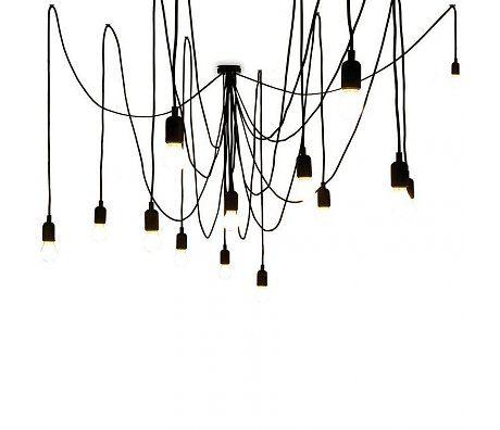 Seletti Hanglamp Maman Tentacularity bestaande uit 14 lampen en 14 snoeren zwart