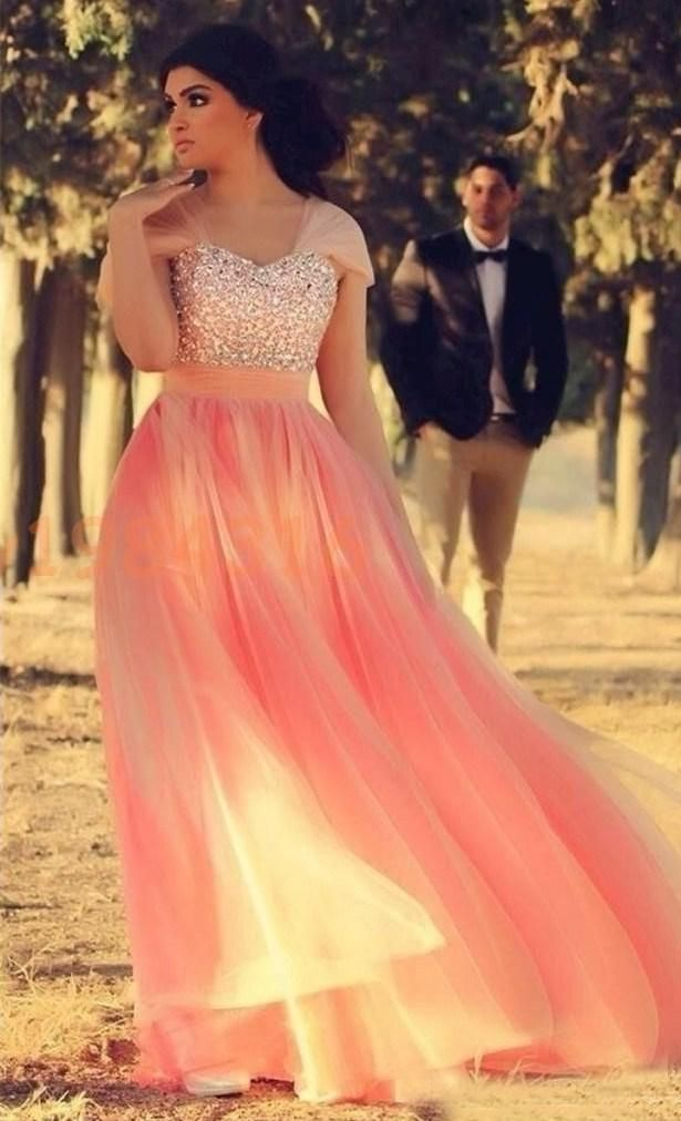 Hot Sale A Line Plus Size Prom Dresses Capped Sleeves Sweetheart Tulle Prom Dresses Crystals Beaded Rhinestones Shining Pink Prom Dresses Cheep Prom Dresses Design Prom Dress From Xzy1984316, $159.52| Dhgate.Com