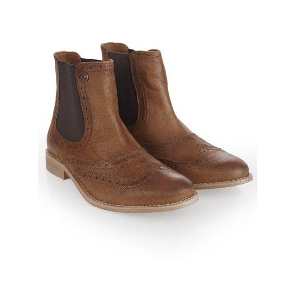 Superdry Mills Boots featuring polyvore, fashion, shoes, boots, brown, brogue boots, brown brogues, slip on shoes, superdry boots and brown brogue boots