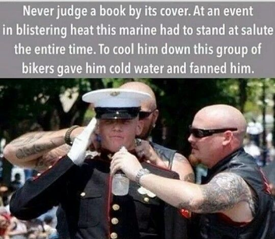 This Marine chose to stand an honor every Veteran that rode through the parade. So to honor him the bikers/veterans gave him water and cooled him off. YouTube has the video.