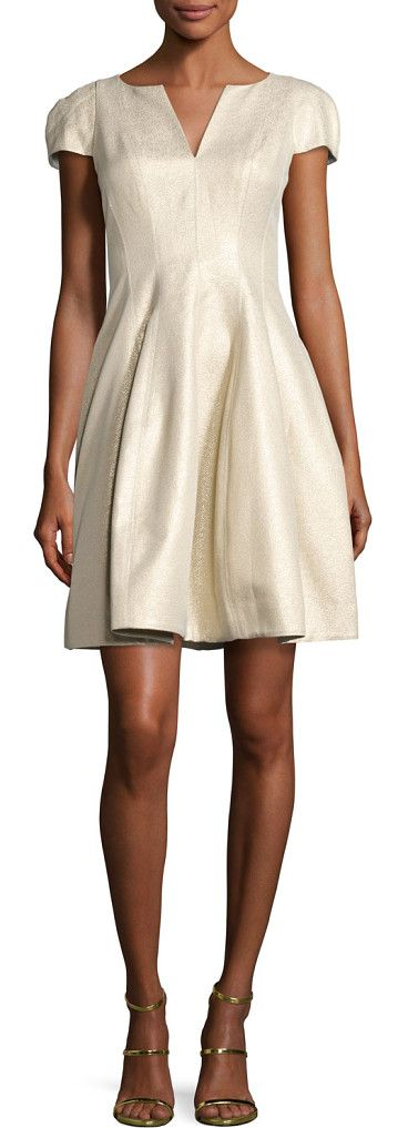 Cap-sleeve metallic structured faille dress by Halston Heritage. Halston Heritage cocktail dress in metallic faille. Notched round neckline. Cap sleeves. Paneled bodice. Structured A...