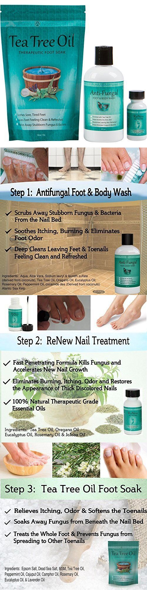 Foot Creams and Treatments: Toenail Fungus Treatment, Antifungal Soap, Tea Tree Oil Foot Soak,Renew Solution BUY IT NOW ONLY: $54.99