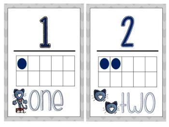 Pete the Cat inspired Number Posters 1-10