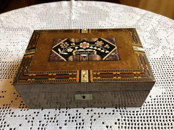 box, wood, aragonite mosaic, second half of the 19th century, Karlovy Vary - Karlsbad, Czech republic