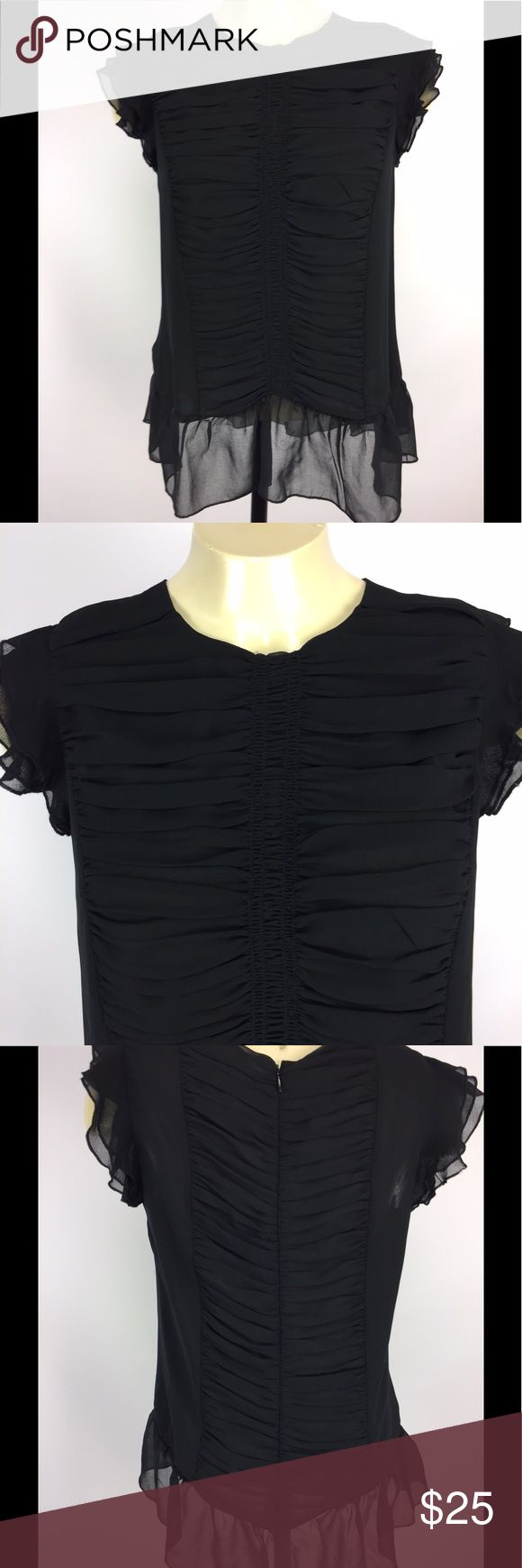 """NWT Who What Wear Black Chiffon Ruffle Top Sz S New with tags black chiffon flutter sleeve blouse by Who What Wear; size S. Zip back; ruching front and back.  Flat measurements: bust 18""""; waist 18""""; sleeve 2.5""""; overall length 24"""". who what wear Tops Blouses"""