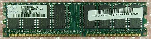 SO-DIMM Speichermodul 128MByte  Gebraucht, technisch OK  Herstellernummer: NT256D64S88B0G-75B  Techn. Daten: Speichertyp DDR SDRAM Gesamtkapazität 128 MB Anzahl der Module 1 Bustaktrate 266 MHz Formfaktor SO DIMM 184-pol. Speicherbandbreite PC2100