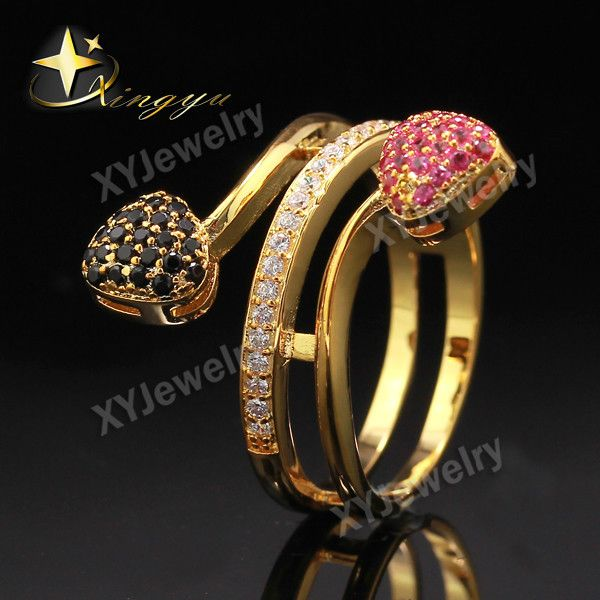Gold Color/White gold Color lots Small Red Black White Small CZ  Heart Three Line Rings for Women Fashion Jewelry XYR101188