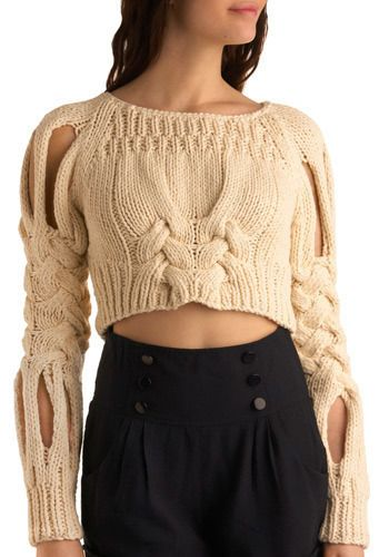 Braid New World Sweater - Cream, Solid, Cutout, Knitted, Casual, Long Sleeve, Fall, Winter, Short