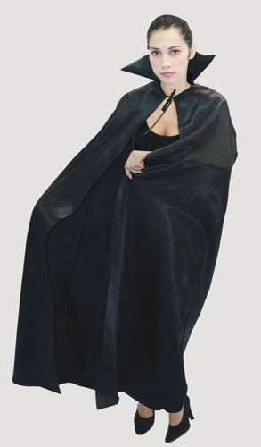 Halloween Horror Black Satin Dracula Cape Cloak Stand Up collar Fancy Dress | eBay