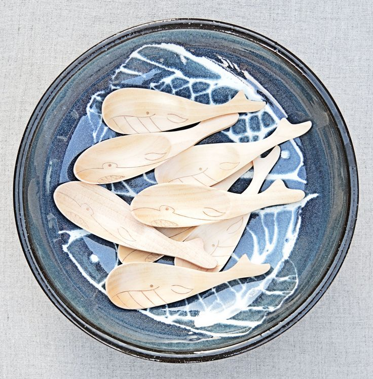 Eco-Friendly Natural Wooden Shark Spoon - Blue Brontide