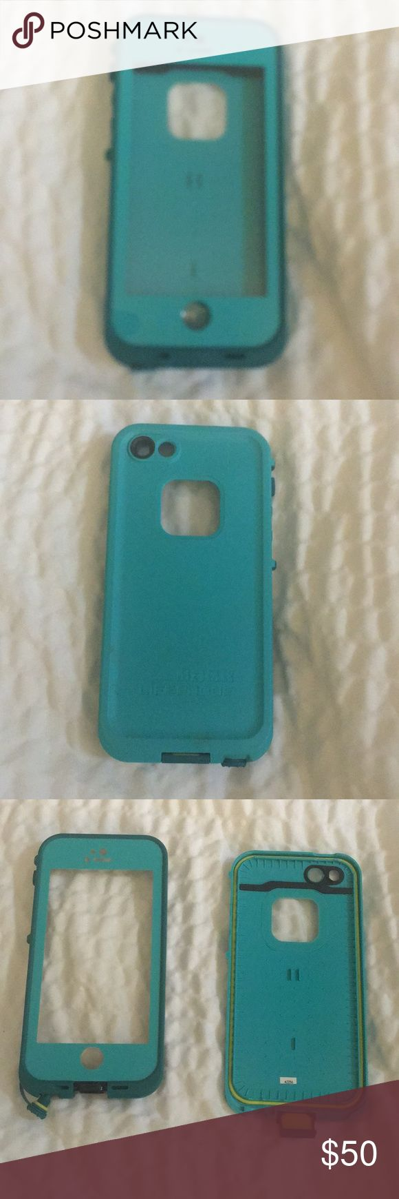 Teal LifeProof Hard IPhone 5 SE Case Waterproof Brand: LifeProof Color:Teal Hard Case Fits IPhone 5 SE Your device will be sealed from snow, dirt, dust and ice with this case on.   It has a built in scratch protector and will protect your touch screen.   With this case fitted on your phone correctly it can survive drops from up to 6.6 feet. LifeProof Accessories Phone Cases