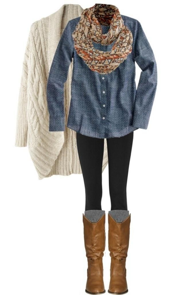 Denim top, colorful scarf, black pants/leggings, tall boots. Heavy coat/cardigan for warmth