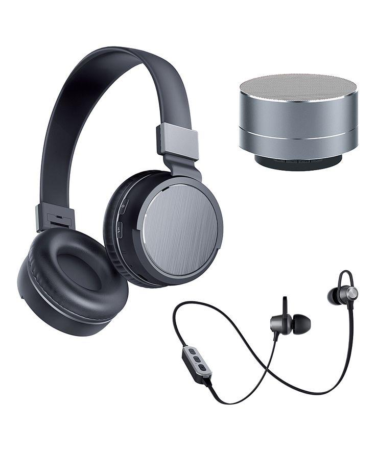 Space Gray 3-Pc. Speaker & Headphone Set