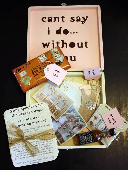 Cutest Idea for a bridesmaid. Make sure you click on the link to the source and read all the details, then click on the link to the Flowergirl's Box so you can see what it had in it.  How cute and a great keepsake.