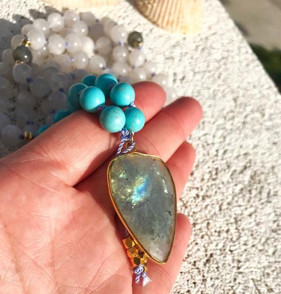 Mala Necklace Yoga  Graduation Gift 108 Prayer Beads Meditation Mala Necklace Mala Beads Turquoise Moonstone Labradorite Knotted Mala