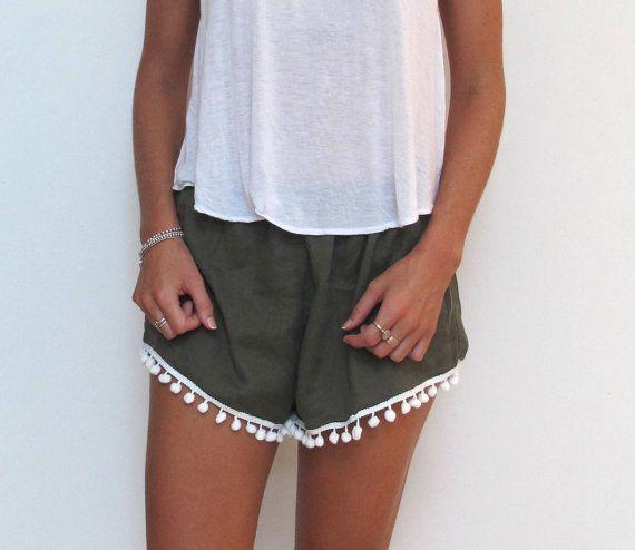 Pom Pom Shorts Khaki White Pom Poms Linen Shorts by ljcdesignss