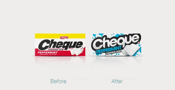 Before & After: Cheque Gum — The Dieline - Branding & Packaging Design
