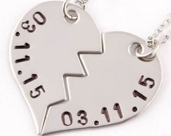 Personalized Anniversary Date Puzzle Piece Necklaces by TwentySix7