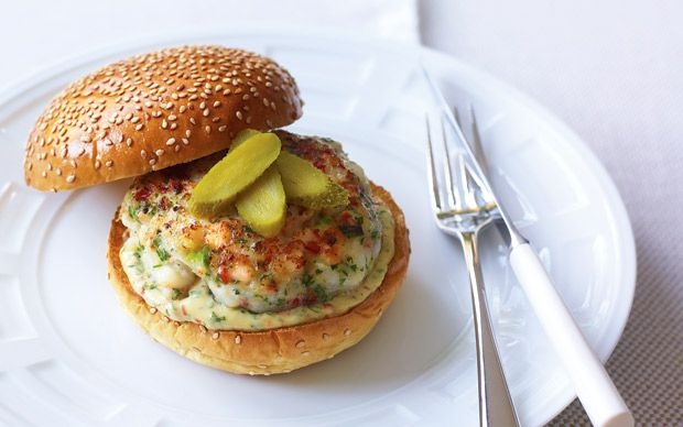 Richard Kirkwood of J Sheekey does a luxurious take on the classic burger,   involving shrimps, scallops and salmon