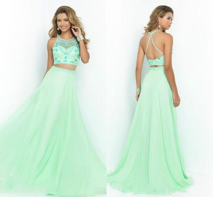 Romantic Two-Piece Prom Dresses Long Beading Party Evening Formal Gowns Custom