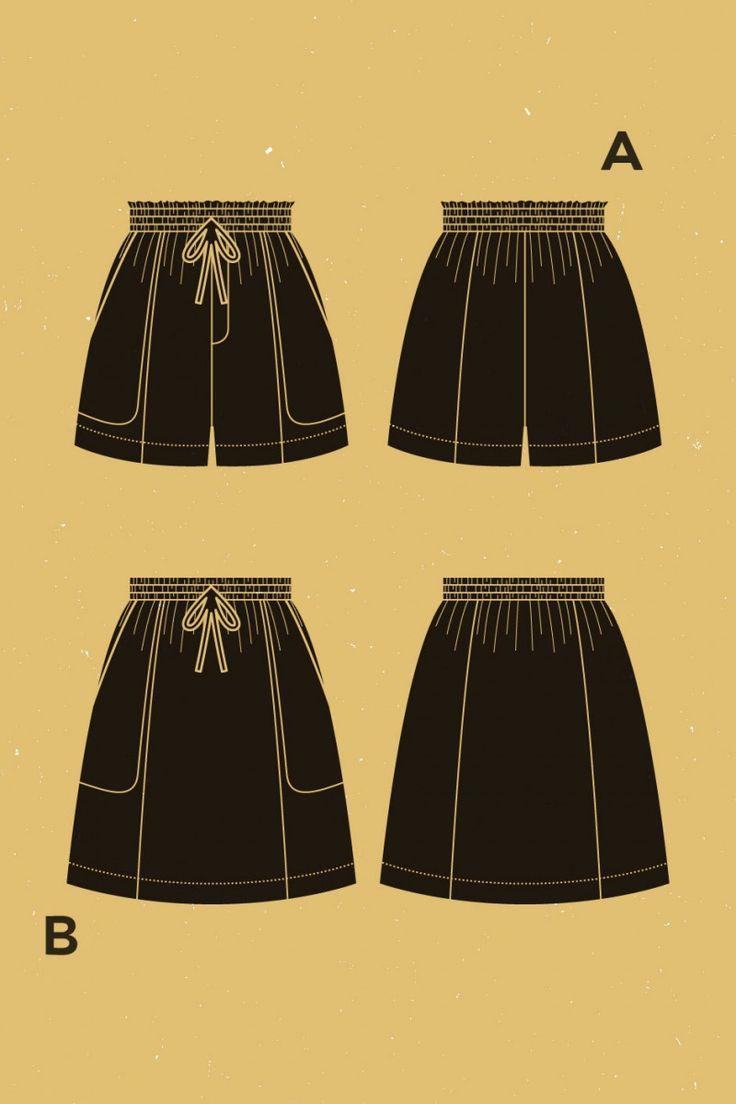 """Goji"" shorts/skirt pattern by Deer and Doe"