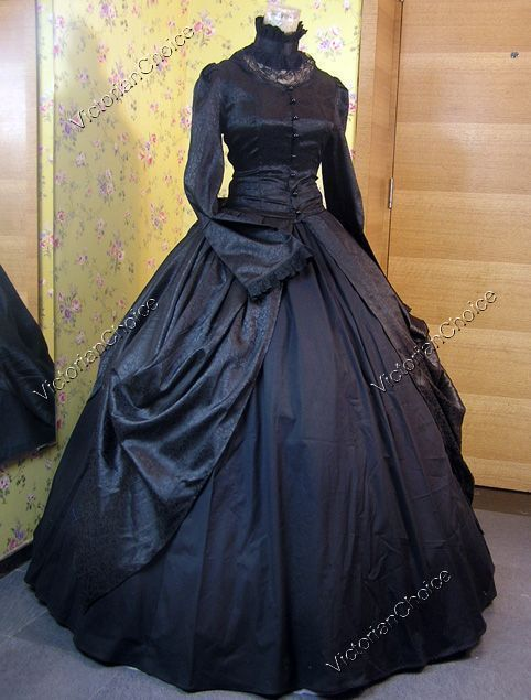 Victorian Dress Period Gown Black Gothic Theater Steampunk Punk Clothing 156 #VictorianChoice #Dress